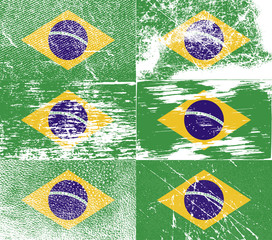 Set of 6 Flags of Brazil with old texture. Vector