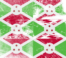 Set of 6 Flags of Burundi with old texture. Vector
