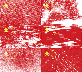 Set of 6 Flags of China with old texture. Vector