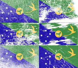 Set of 6 Flags of Christmas Island with old texture. Vector