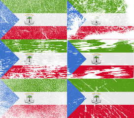 Set of 6 Flags of Equatorial Guinea with old texture. Vector