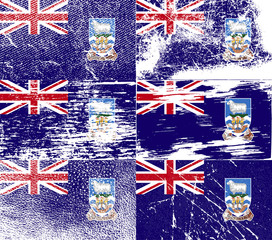 Set of 6 Flags of Falkland Islands with old texture. Vector