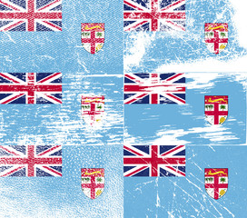 Set of 6 Flags of Fiji with old texture. Vector