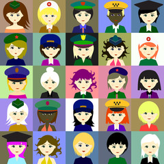 Girls in hats. Vector.