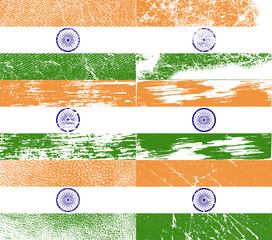 Set of 6 Flags of India with old texture. Vector