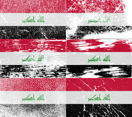 Set of 6 Flags of Iraq with old texture. Vector