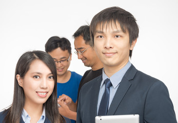 Asian business company employers and employees