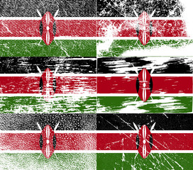 Set of 6 Flags of Kenya with old texture. Vector