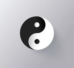 Yin Yang symbol. Harmoy and balance. Vector icon illustration