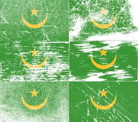 Set of 6 Flags of Mauritania with old texture. Vector