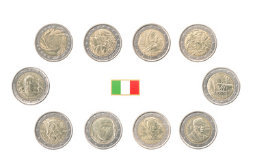 Set of Commemorative 2 euro coins of Italy