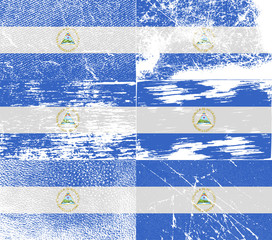 Set of 6 Flags of Nicaragua with old texture. Vector