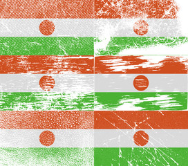 Set of 6 Flags of Niger with old texture. Vector
