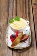 Bowl of pudding and fresh fruit