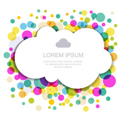 Cloud silhouette with colorful circles. Vector illustration, mod