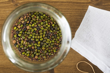 Mung Beans in Jar From Above