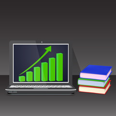 Laptop with books on black background growth chart vector