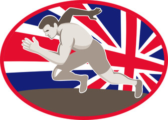 Runner Track and Field Athlete British Flag