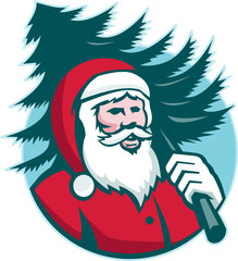 Santa Claus Carrying Christmas Tree Retro