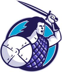 Highlander Scottish Scot Warrior Sword Shield