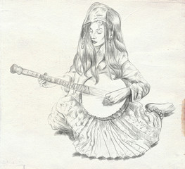 Banjo player. Freehand sketch. Full sized, orignal.