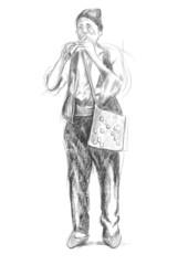 Flute player. An hand drawn full sized illustration, original.