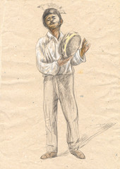 Tambourine player. An hand drawn full sized illustration, origin