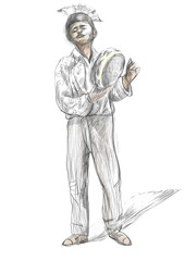 Tambourine player. An hand drawn full sized illustration, origin