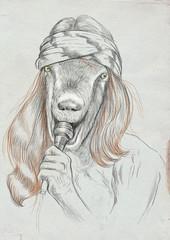 Goat Singer. An hand drawn full sized illustration, original.