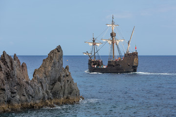 "Tourists making a cruise with a replica of vessel ""Santa Maria"""