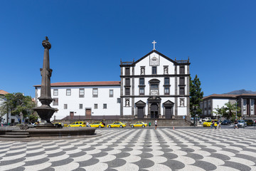 Central plaza of Funchal with church, Madeira Island