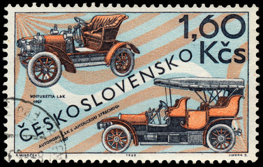 Stamp printed in Czechoslovakia shows old cars