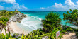 Leinwanddruck Bild - Huge Panorama of Tulum caribbean paradise and Mayan Ruins. Trave