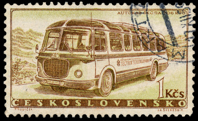 Stamp printed in Czechoslovakia shows vintage bus