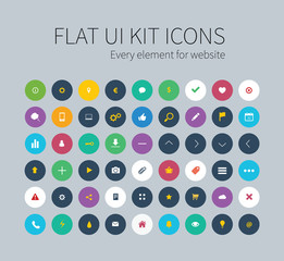 Flat ui kit set icons for webdesign or mobile design