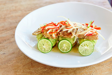 Delicious grilled fish with vegetables
