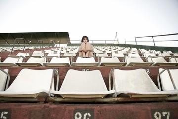 Retro Mädchen im Stadium