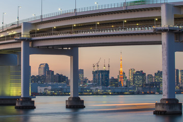 Rainbow bridge at night with Tokyo tower in background