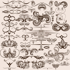 Collection of vector  vintage decorative calligraphic elements