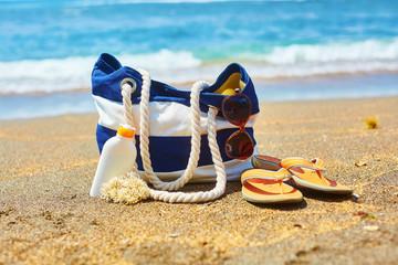 Beach bag on a Balinese beach