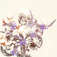 Floral background with flowers and ornament