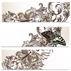 Floral brochures set with butterflies
