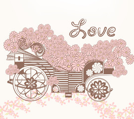 Illustration with art fake carriage and flowers in vintage style