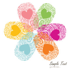 Colorful fingerprint vector with flower symbol vector