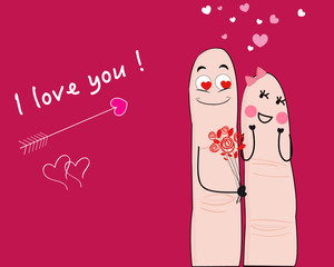 Finger couple i love you card