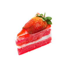 Strawberry piece of cake on white background