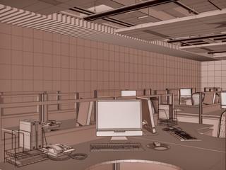 3D Interior Rendering Office Rooms