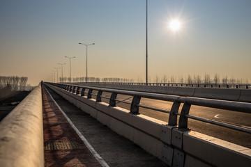 New bridge across Danube river in Belgrade, Serbia. Pupinov most