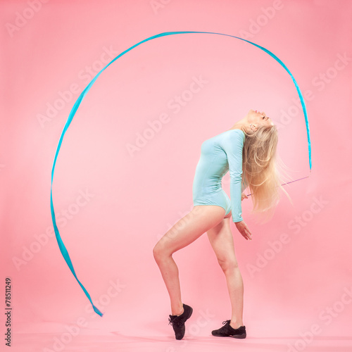 canvas print picture blonde woman with gymnastic ribbon