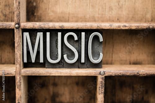 Leinwanddruck Bild Music Vintage Letterpress Type in Drawer